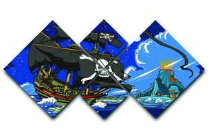 Adventure Time Pirate Ship Sailing 4 Square Multi Panel Canvas  - Canvas Art Rocks - 1