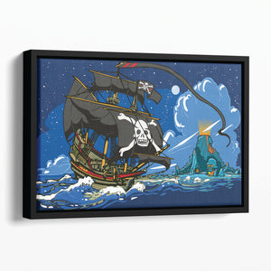 Adventure Time Pirate Ship Sailing Floating Framed Canvas