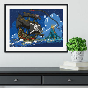 Adventure Time Pirate Ship Sailing Framed Print - Canvas Art Rocks - 1