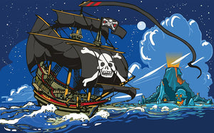 Adventure Time Pirate Ship Sailing Wall Mural Wallpaper - Canvas Art Rocks - 1