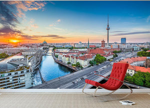 Aerial view of Berlin skyline Wall Mural Wallpaper - Canvas Art Rocks - 2