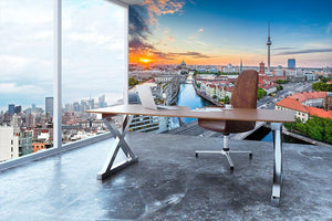 Aerial view of Berlin skyline Wall Mural Wallpaper - Canvas Art Rocks - 3