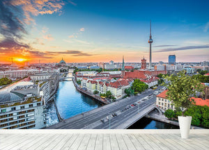 Aerial view of Berlin skyline Wall Mural Wallpaper - Canvas Art Rocks - 4
