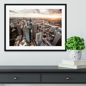 Aerial view of downtown Sydney at sunset Framed Print - Canvas Art Rocks - 1