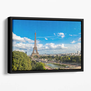 Aerial view of the Eiffel Tower Floating Framed Canvas