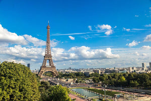 Aerial view of the Eiffel Tower Wall Mural Wallpaper - Canvas Art Rocks - 1