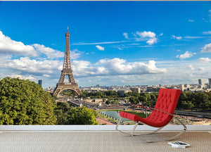 Aerial view of the Eiffel Tower Wall Mural Wallpaper - Canvas Art Rocks - 2