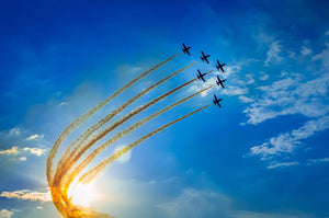 Aerobatic team performs flight Wall Mural Wallpaper - Canvas Art Rocks - 1