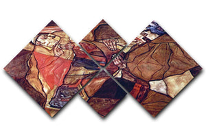 Agony The Death Struggle by Egon Schiele 4 Square Multi Panel Canvas - Canvas Art Rocks - 1