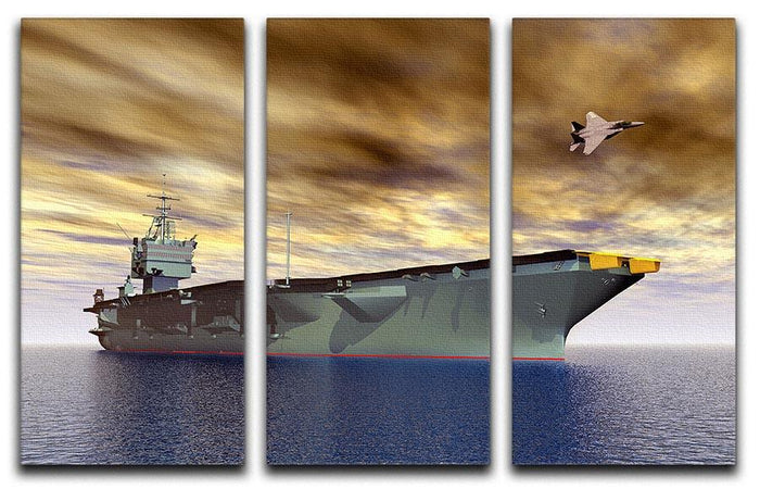 Aircraft Carrier and Fighter Plane 3 Split Panel Canvas Print
