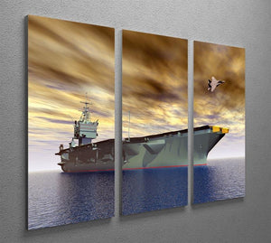 Aircraft Carrier and Fighter Plane 3 Split Panel Canvas Print - Canvas Art Rocks - 2