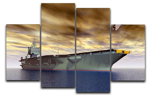 Aircraft Carrier and Fighter Plane 4 Split Panel Canvas  - Canvas Art Rocks - 1