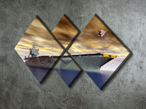 Aircraft Carrier and Fighter Plane 4 Square Multi Panel Canvas  - Canvas Art Rocks - 2