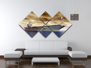 Aircraft Carrier and Fighter Plane 4 Square Multi Panel Canvas  - Canvas Art Rocks - 3