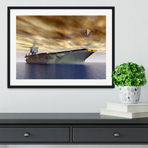 Aircraft Carrier and Fighter Plane Framed Print - Canvas Art Rocks - 1