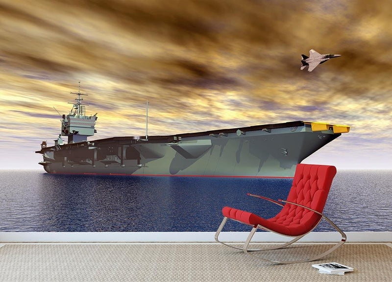 Aircraft Carrier and Fighter Plane Wall Mural Wallpaper - Canvas Art Rocks - 1