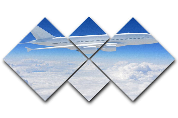 Airplane in the sky 4 Square Multi Panel Canvas