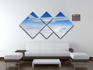 Airplane in the sky 4 Square Multi Panel Canvas  - Canvas Art Rocks - 3