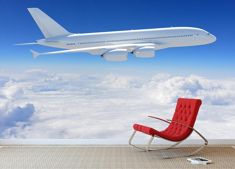 Airplane in the sky Wall Mural Wallpaper - Canvas Art Rocks - 1