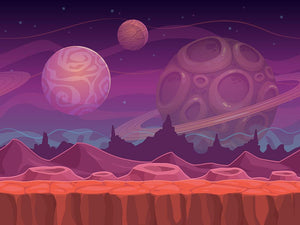 Alien fantastic landscape Wall Mural Wallpaper - Canvas Art Rocks - 1