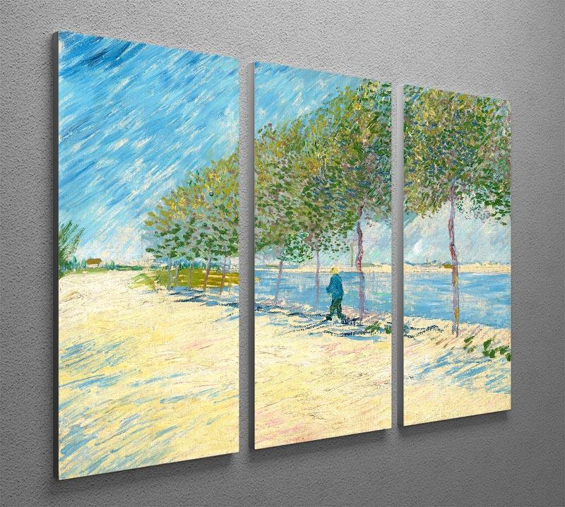 Along the Seine by Van Gogh 3 Split Panel Canvas Print - Canvas Art Rocks - 2