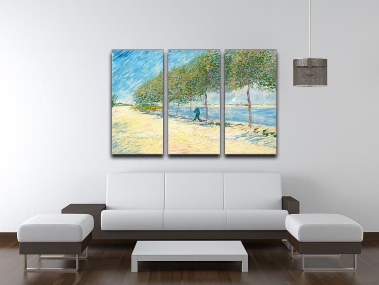 Along the Seine by Van Gogh 3 Split Panel Canvas Print - Canvas Art Rocks - 3
