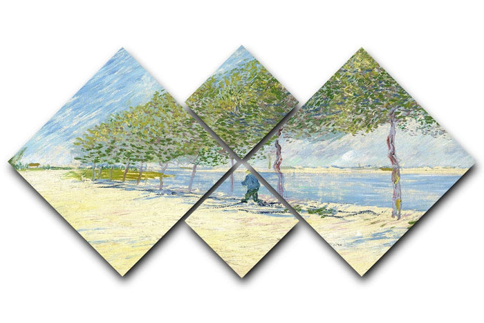 Along the Seine by Van Gogh 4 Square Multi Panel Canvas