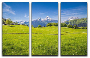 Alps with fresh green meadow 3 Split Panel Canvas Print - Canvas Art Rocks - 1