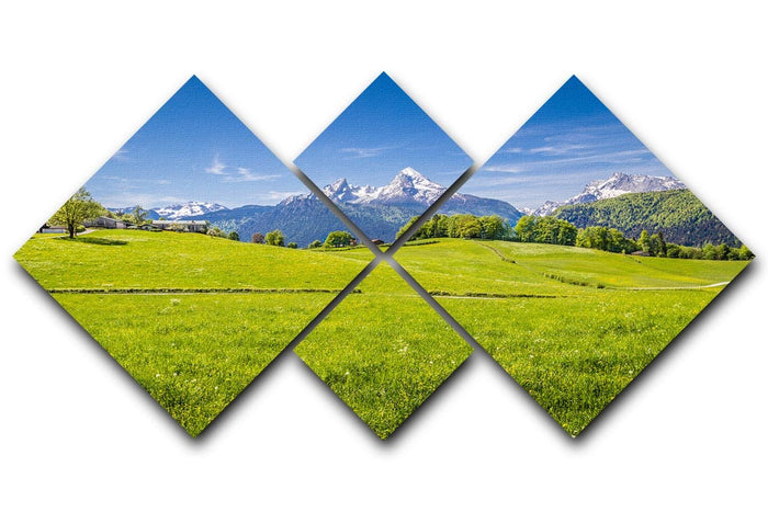 Alps with fresh green meadow 4 Square Multi Panel Canvas
