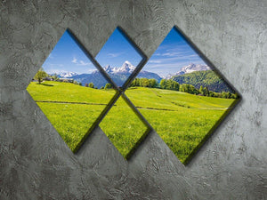 Alps with fresh green meadow 4 Square Multi Panel Canvas  - Canvas Art Rocks - 2