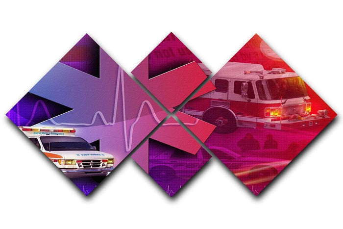 Ambulance Firetruck and Police car 4 Square Multi Panel Canvas