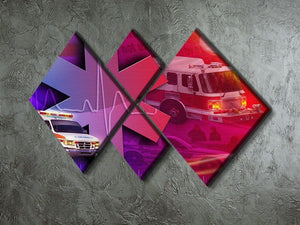 Ambulance Firetruck and Police car 4 Square Multi Panel Canvas  - Canvas Art Rocks - 2