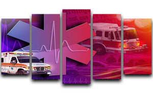 Ambulance Firetruck and Police car 5 Split Panel Canvas  - Canvas Art Rocks - 1