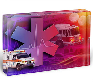 Ambulance Firetruck and Police car Acrylic Block - Canvas Art Rocks - 1