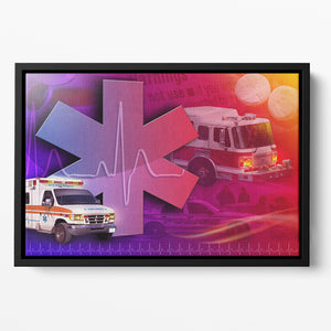 Ambulance Firetruck and Police car Floating Framed Canvas