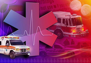 Ambulance Firetruck and Police car Wall Mural Wallpaper - Canvas Art Rocks - 1