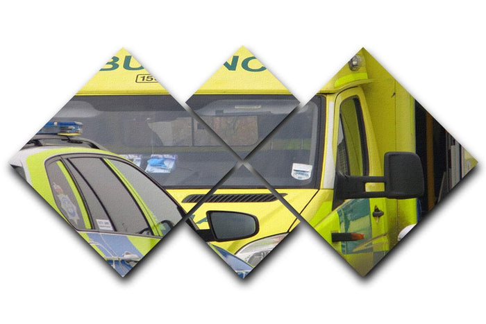 Ambulance and responder vehicles 4 Square Multi Panel Canvas