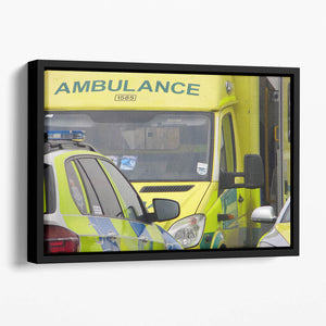 Ambulance and responder vehicles Floating Framed Canvas