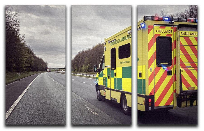 Ambulance responding to an emergency 3 Split Panel Canvas Print