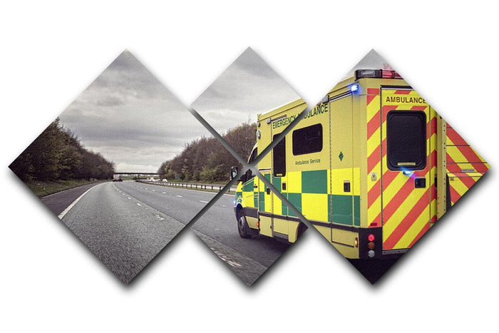 Ambulance responding to an emergency 4 Square Multi Panel Canvas