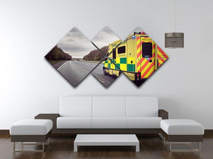 Ambulance responding to an emergency 4 Square Multi Panel Canvas  - Canvas Art Rocks - 3