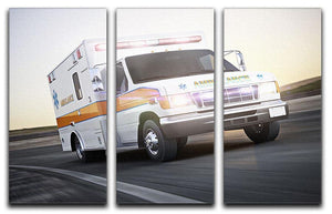 Ambulance running with lights and sirens 3 Split Panel Canvas Print - Canvas Art Rocks - 1