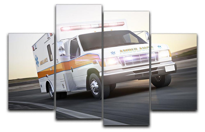 Ambulance running with lights and sirens 4 Split Panel Canvas