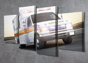Ambulance running with lights and sirens 4 Split Panel Canvas  - Canvas Art Rocks - 2