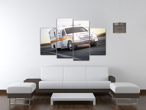 Ambulance running with lights and sirens 4 Split Panel Canvas  - Canvas Art Rocks - 3