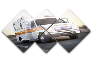 Ambulance running with lights and sirens 4 Square Multi Panel Canvas  - Canvas Art Rocks - 1