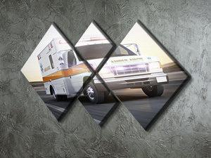 Ambulance running with lights and sirens 4 Square Multi Panel Canvas  - Canvas Art Rocks - 2