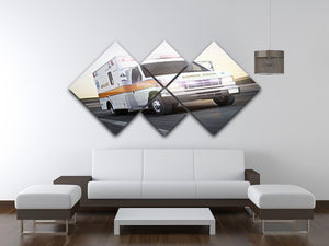Ambulance running with lights and sirens 4 Square Multi Panel Canvas  - Canvas Art Rocks - 3