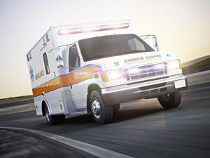 Ambulance running with lights and sirens Wall Mural Wallpaper - Canvas Art Rocks - 1