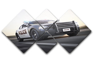 American Police Car 4 Square Multi Panel Canvas  - Canvas Art Rocks - 1